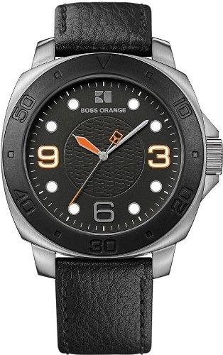 boss orange black leather reloj para hombre