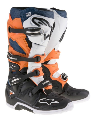 bota alpinestars tech 7 offroad preta laranja motocross