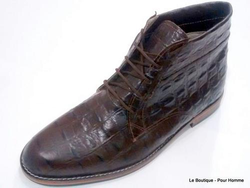 bota alta hombre cuero con diseño marron jhon boll hot sale