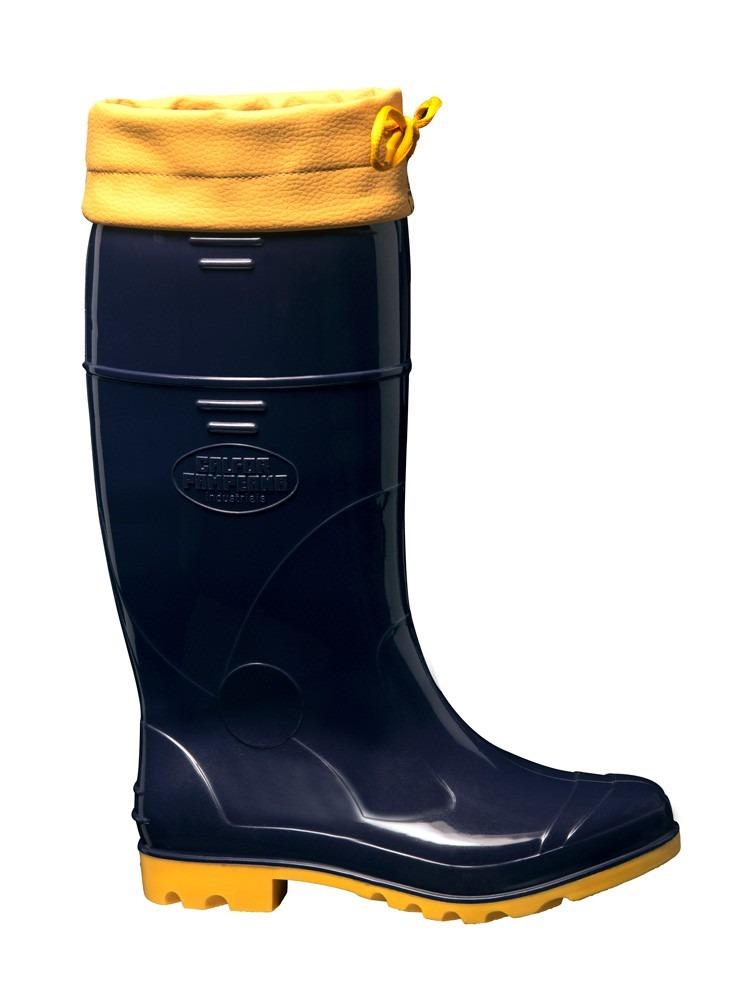 Bota Azul amarela Com Amarra - Calfor Pampeana - R  60 1dc7b2e8bbfc7
