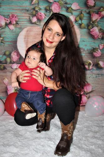 bota bebê country texana menino menina em couro kifofo 1823