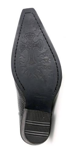 bota bico fino masculina escrete gravado cobra cor preta