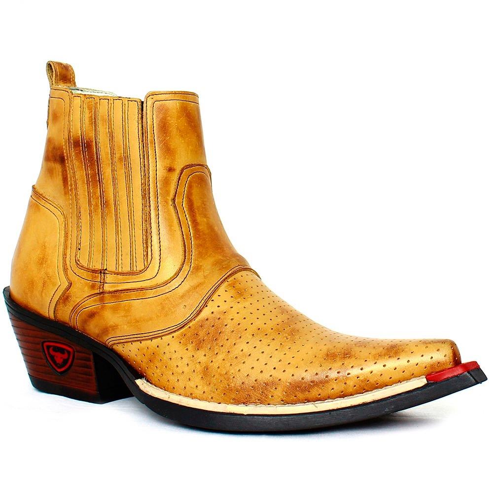 2ddba7e140 bota botina amarela country masculina couro liso american. Carregando zoom.