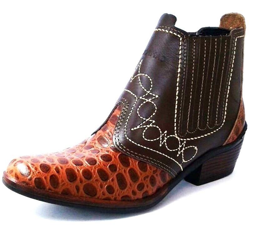 bota botina butina couro luxo country peao cavalgada cowboy. Carregando  zoom. 875faedb19b