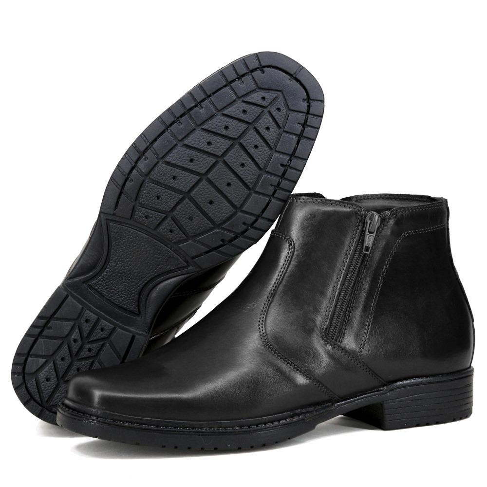 6833415a95 bota botina confort anti stress zíper lateral preta couro. Carregando zoom.