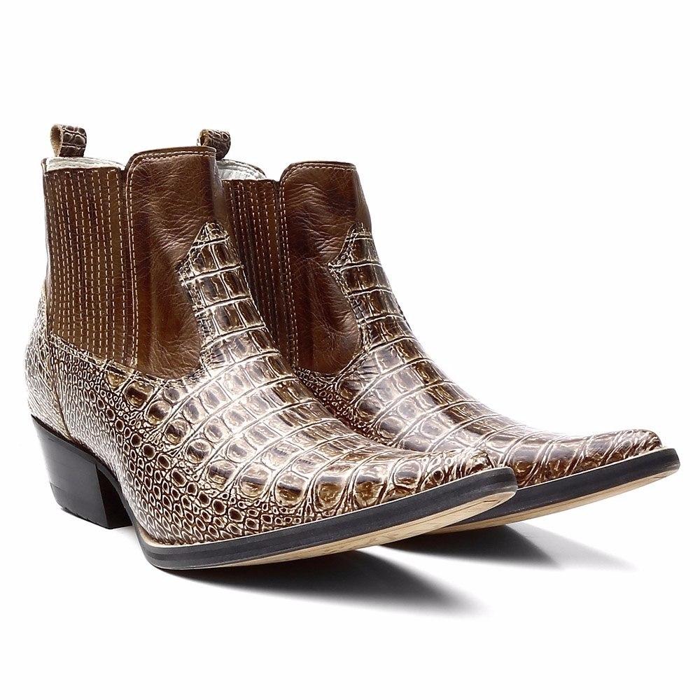 213f87109f912 bota botina country - couro estampa jacaré bico fino. Carregando zoom.