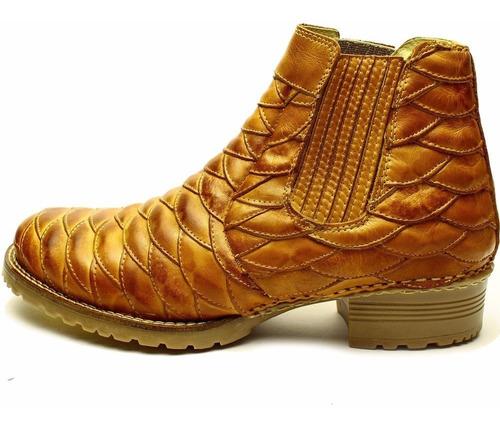 bota botina country masculina couro liso 100% legítimo