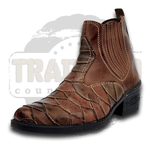bota botina country texana escamada em couro legitimo at-10