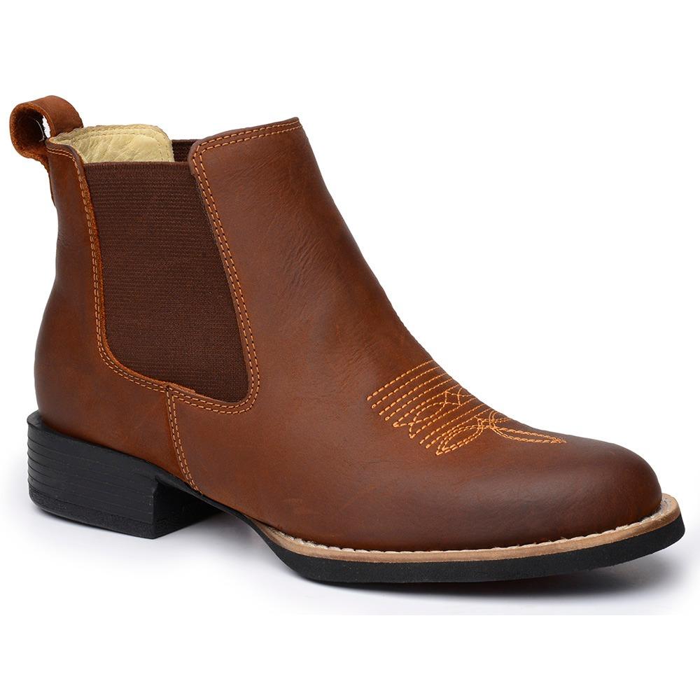 3e61f8006 bota botina feminina country cano curto couro legítimo. Carregando zoom.