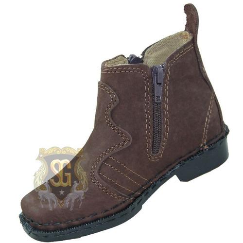 bota / botina infantil country couro costurada zipper- zelão