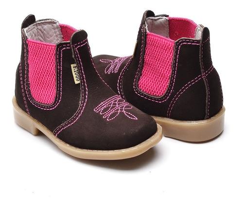 bota botina infantil feminina couro legítimo rosa