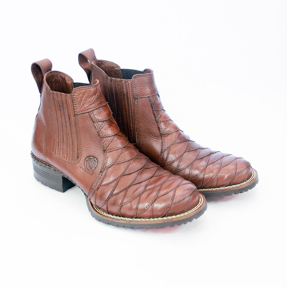 bota botina masculina country couro escamada cowboy 033 cafe. Carregando  zoom. 914f5573fa3