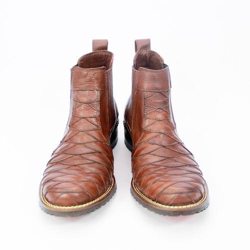 Bota Botina Masculina Country Couro Escamada Cowboy 033 Cafe - R ... 0213f51b665