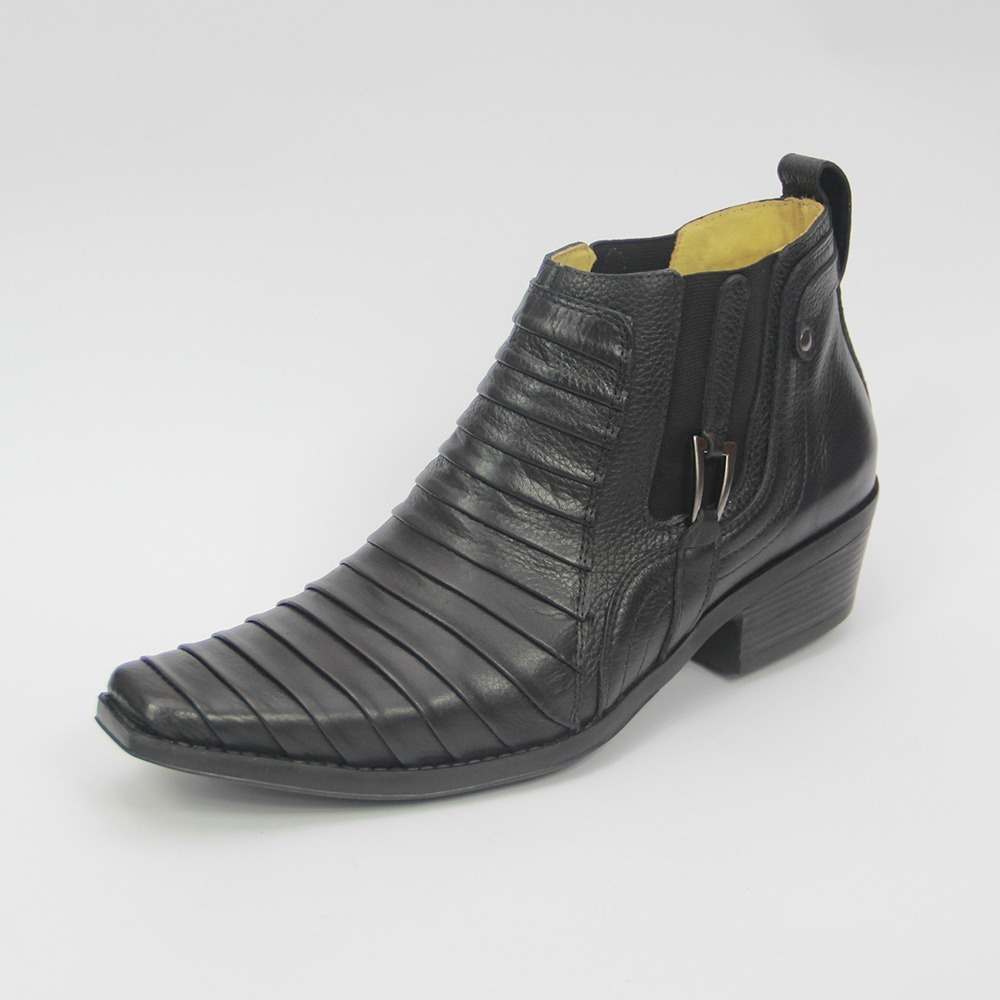 bota botina masculina country couro escamada cowboy preta 80. Carregando  zoom. e7871eec922