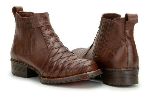 bota botina masculina country escamada couro legitimo boots