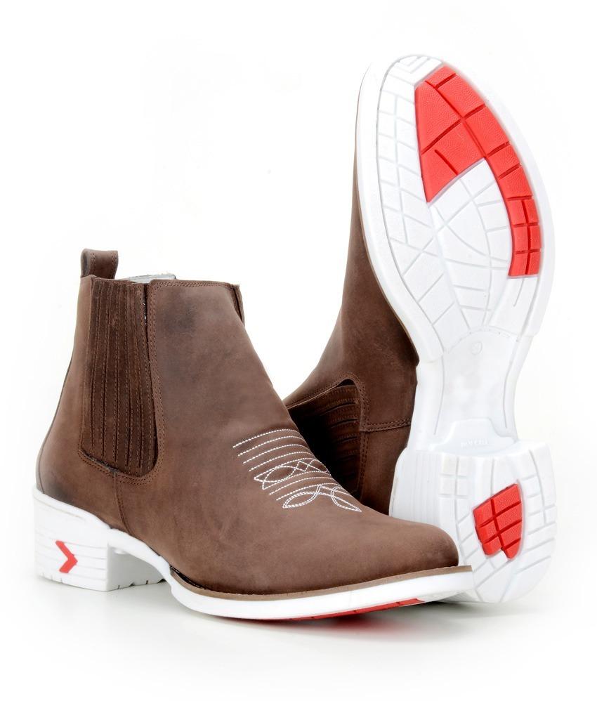 bota botina masculina country texana 100% couro western 869. Carregando zoom . b04d9b489a4