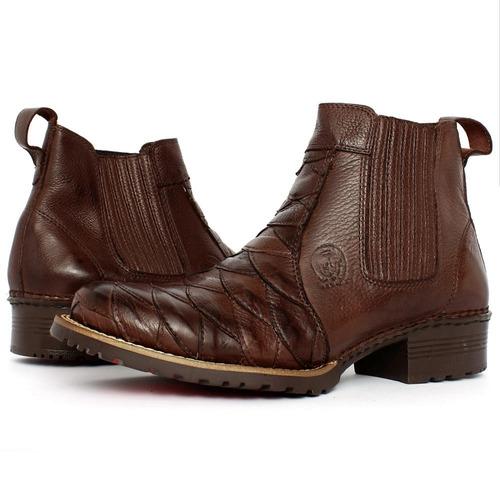 bota botina masculina couro nobre cowboy country exclusiva