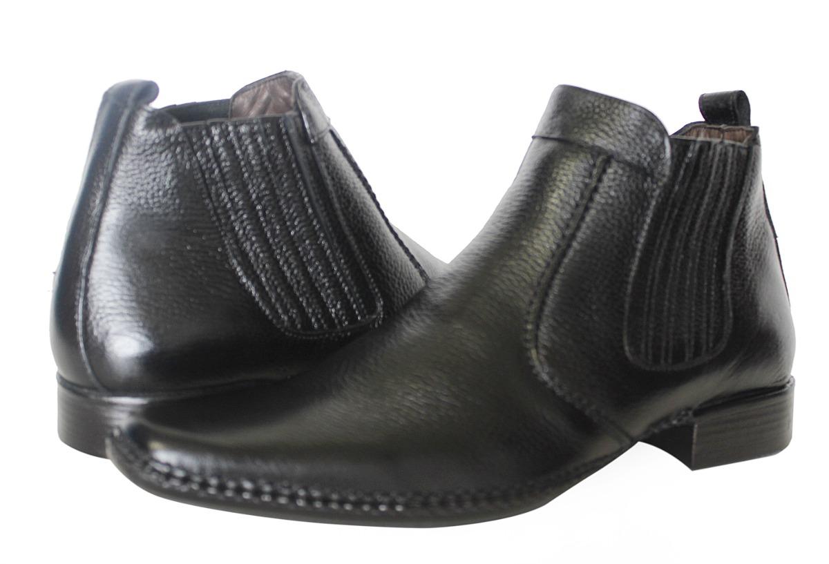 d451fc3c51 bota botina social couro legítimo preto confortável gofer. Carregando zoom.