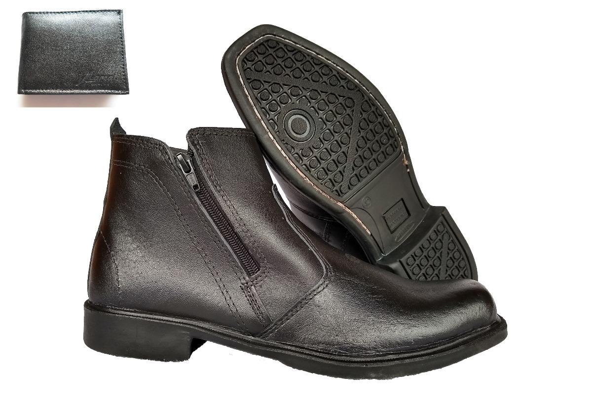 97ea7e834 bota botina social masculina couro legítimo + carteira couro. Carregando  zoom.