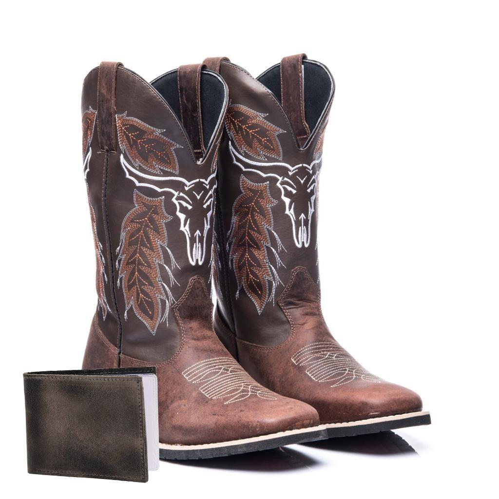 Bota Botina Texana Country Couro Cara De Boi+carteira - R  149 fcb7981445f