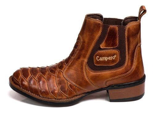 bota botina texana escamada cano curto bico redondo couro