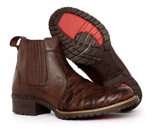 bota botina texana escamada couro exclusiva palmilha gel