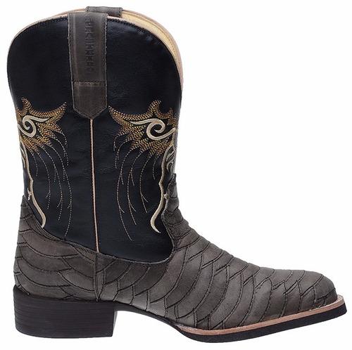 bota botina texana escamada masculina 100% couro montaria