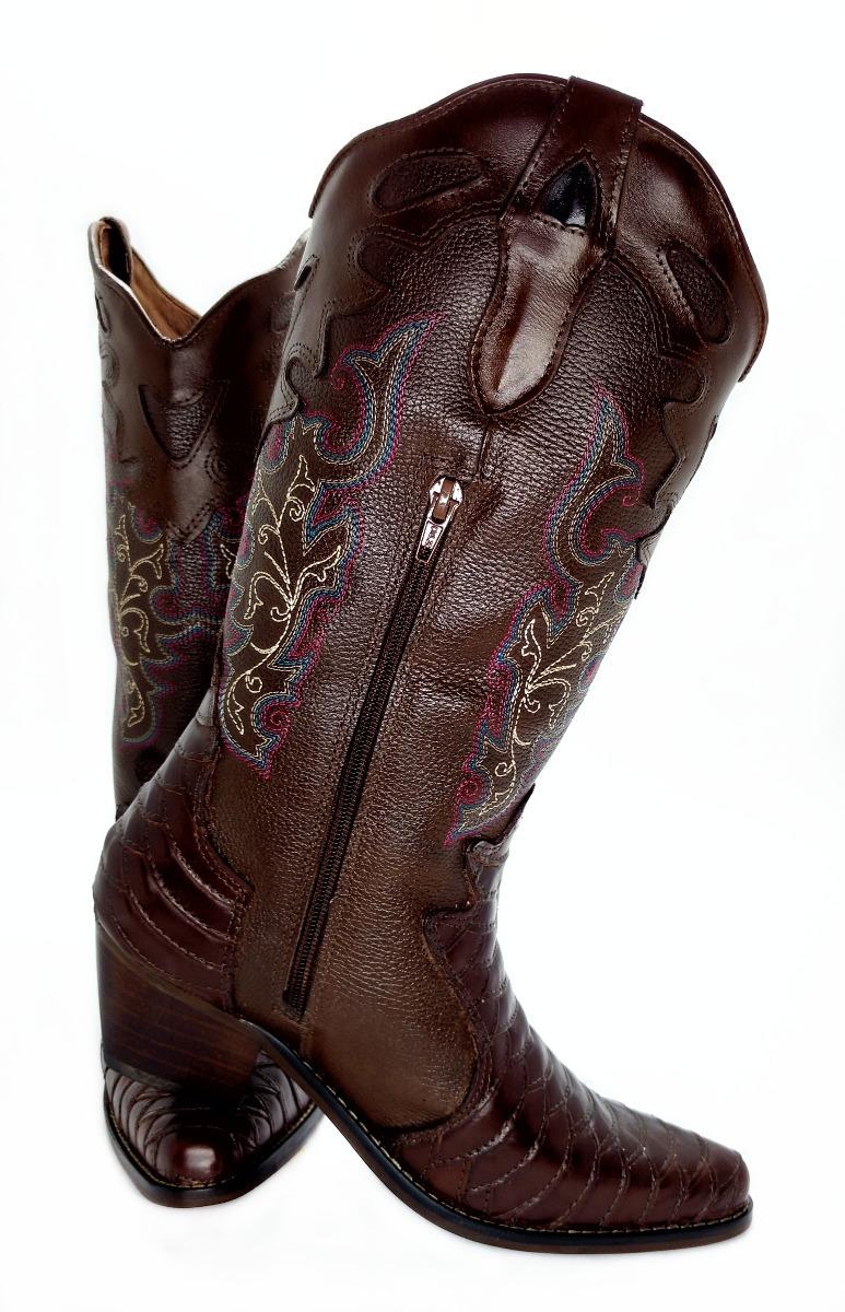 f68cb017cc9 bota botina texana montaria bico fino escamada couro cafe. Carregando zoom.