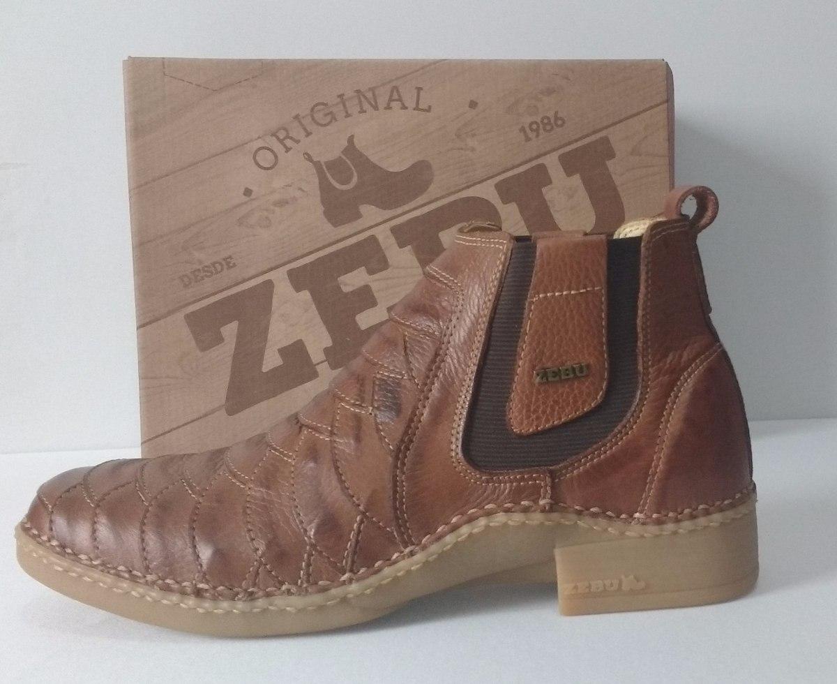 d3b38104376 bota botina zebu original em couro escamado cor whisky. Carregando zoom.