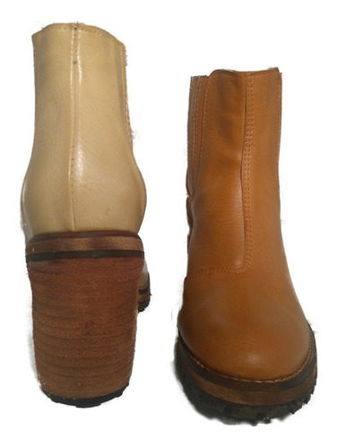 bota botineta cuero taco foliado modelo perry shoestore