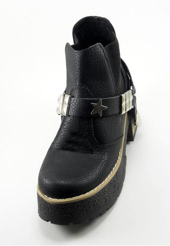 bota botineta dama moda con elástico adorno estribo