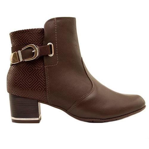 bota botineta mujer cuero marrón combinado taco 4cm. ms