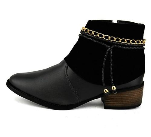 bota botinha feminina cano curto zíper - pronta entrega