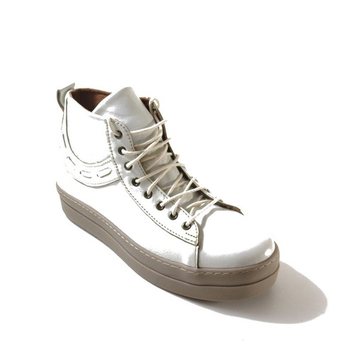 bota / botita blanca tiza cuero mujer