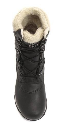 bota bull terrier feminina nevada lã forrada couro preta -