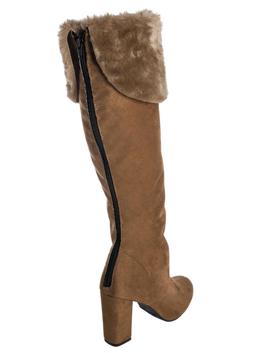 3ea82ce6b bota cano alto caramelo com detalhe peluciado. Carregando zoom.