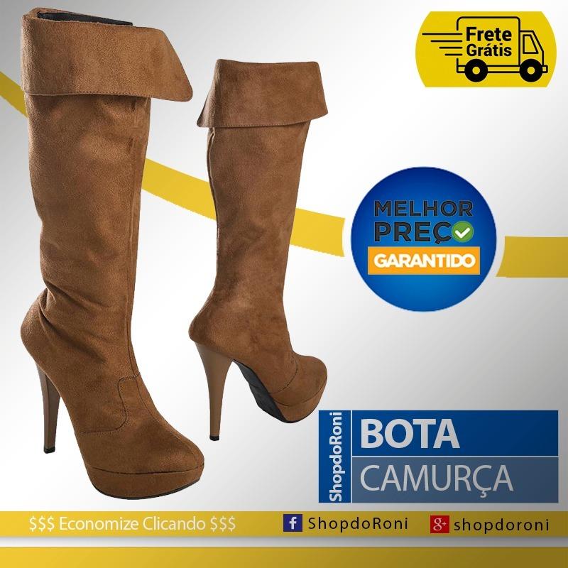 9a509ee09 Bota Cano Alto Caramelo Em Camurça - Bota Salto Feminina - R$ 139,90 ...