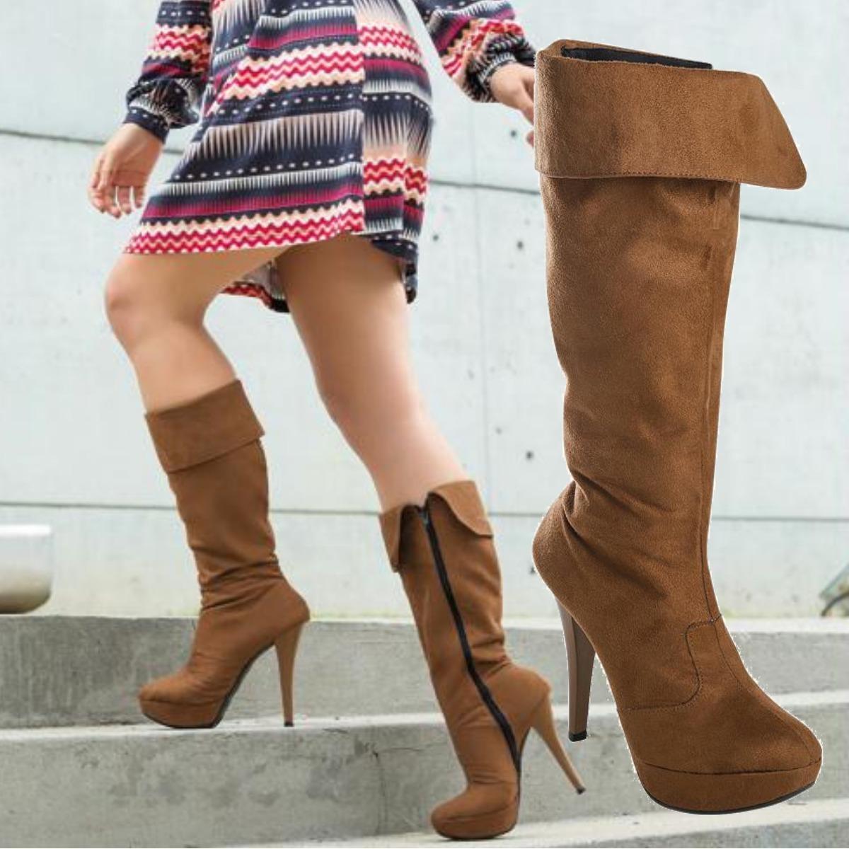 56471ec889 bota cano alto caramelo em camurça - bota salto feminina. Carregando zoom.