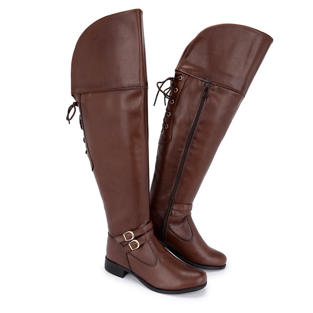 bota cano alto feminina over com ajuste bico redondo. Carregando zoom. d63d6378655e6