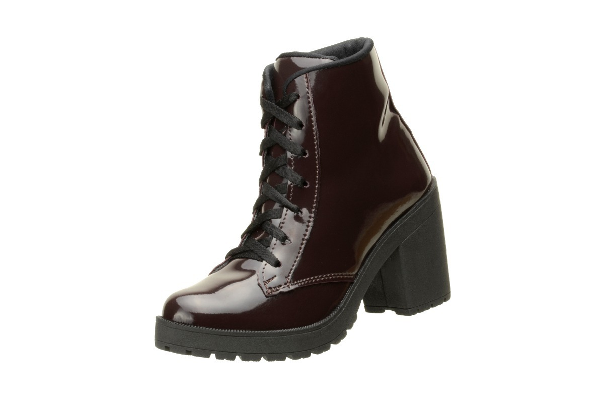 3855e914caf69 bota cano curto ankle boot salto alto verniz cafe - 030. Carregando zoom.