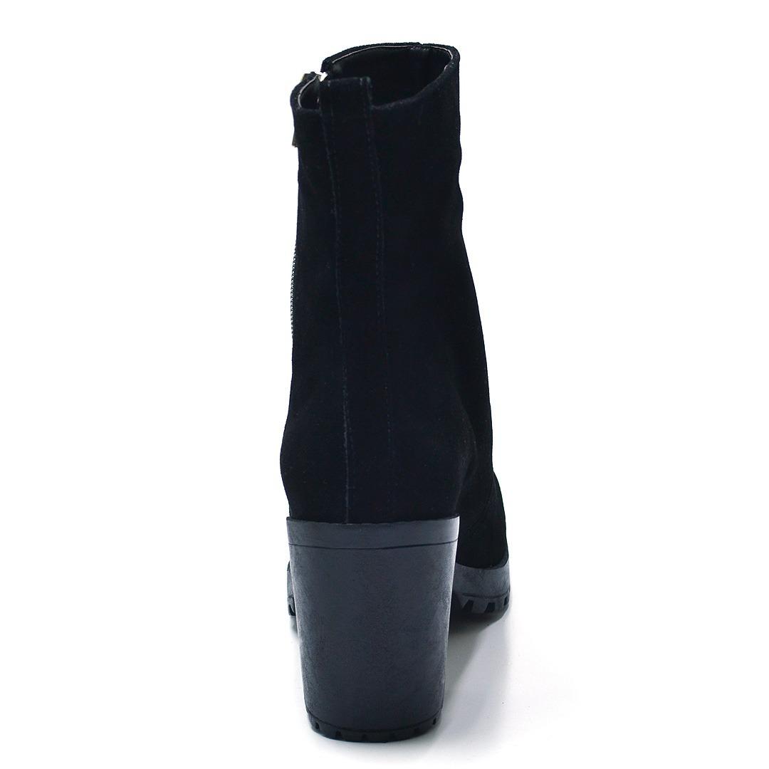 5cbf3bf163 bota cano curto ankle boot salto grosso tratorado camurça. Carregando zoom.