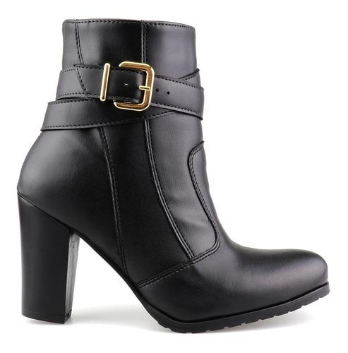 bota cano curto casual feminino fivela preta salto