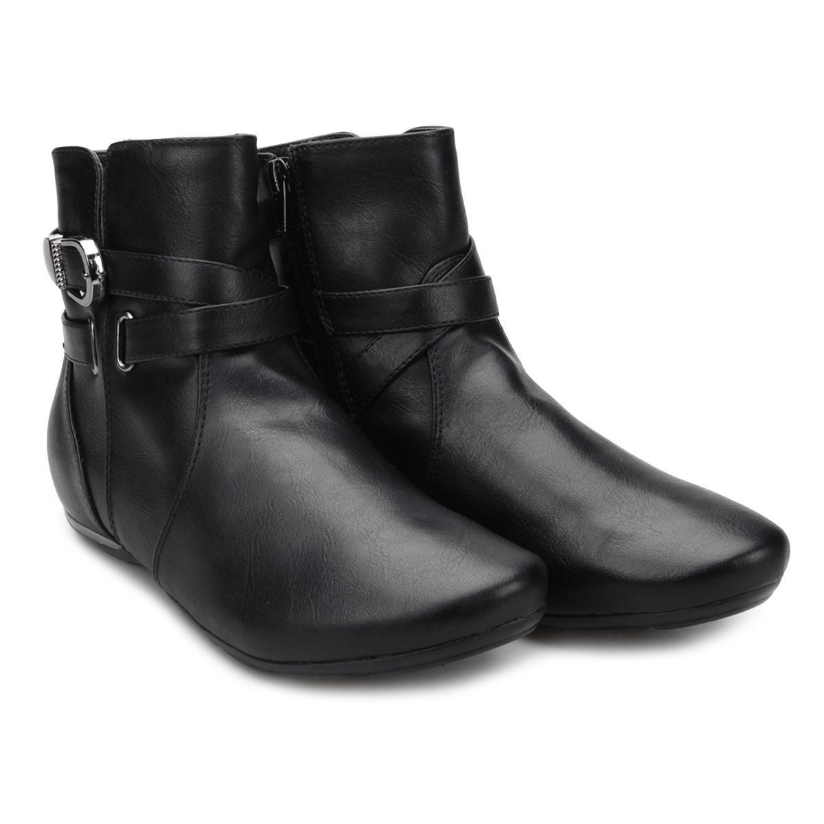 71a409bb6 bota cano curto comfortflex multi tiras e fivela feminina. Carregando zoom.