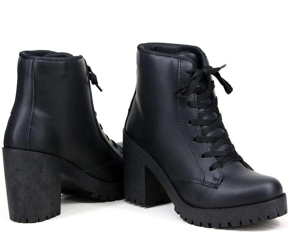 a48b7aa89 bota cano curto feminina tratorada salto grosso coturno moda. Carregando  zoom.