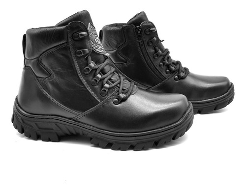 bota cano curto militar couro bmbrasil tipo borzeguim 5185