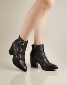 e054a96698 Bota Cano Curto Napa Preto Nine Frida Shoes Frete Gratis