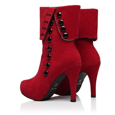 b4fa89131 Bota Cano Curto Sapato Salto Alto Importada Moda Inverno - R$ 259,90 ...
