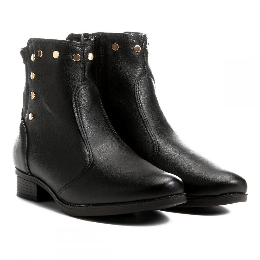 c05c47334 bota cano curto vizzano flat tachas feminina preto 3050.117. Carregando  zoom.