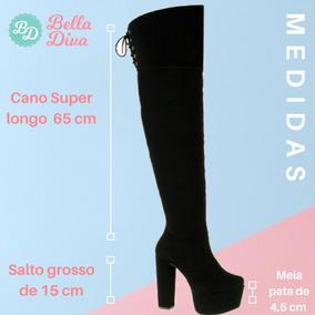 20c868dfb Botas Cano Longo E Salto Feminino Crysalis - Botas Over the Knee ...