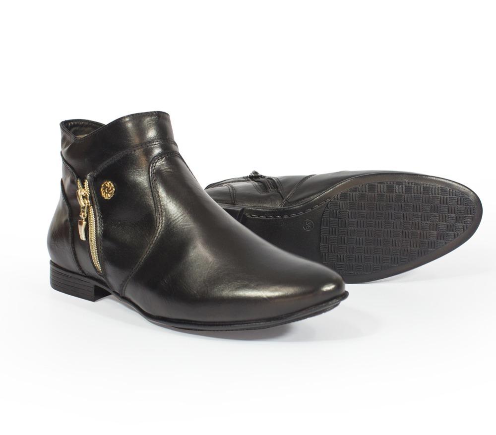c6f00bb30 bota casual feminina cano curto couro ziper lateral oferta. Carregando zoom.